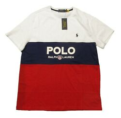 Polo Big And Tall White Red Blue Colorblock Logo Graphic S/s T-shirt