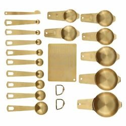 18pcs Measuring Cup Stainless Steel Gold Coffee Spoon Cup Set Baking Scale Measu