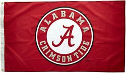 Ncaa Alabama Crimson Tide Circle A Logo 3by5 Foot Flag With Grommets