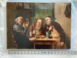 Antique Oil Painting On Linen Monks Beer 1800s