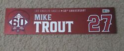 Mike Trout Game Used Locker Name Plate Opening Day 4/1/21 Mlb Hologram