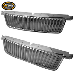 Fits 06-10 Ford Explorer Vertical Style Chrome Front Bumper Hood Grille - Abs