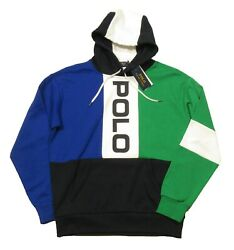 Polo Big And Tall Blue Multi Colorblock Logo Mesh Pullover Hoodie
