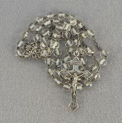 Antique French Huge Sterling Silver Large Rosary White Crystal Beads