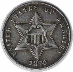 1870 Three Cent Silver Ef Uncertified 1032