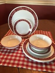 Corelle Bandhani Dishes 12 Pieces-4 Dinner And 4 Bread And Butter Plates, 4 Bowls