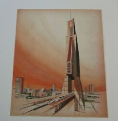 Anthony Powell Drawing Painting Architectural Building Design Train Vintage City