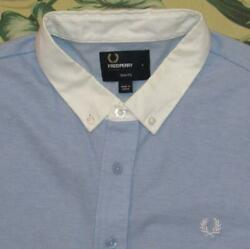 FRED PERRY Blue Knit Short Sleeve Button Down Shirt Slim Fit Large L $34.99