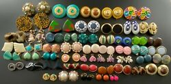Large Vintage Earring Lot Of Over 50 Pairs Clip On And Screw On Earrings 464