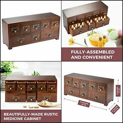 8 Drawers Wood Apothecary Medicine Cabinet Label Holder Organizer Card Tabletop