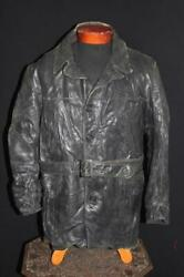 Very Rare Collector's Vintage 1930's Black Leather Jacket Size Large
