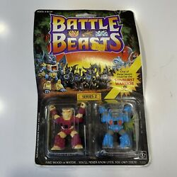 Unopened Vintage Battle Beasts -sabretooth Tiger And Hippo -series 2 -new In Box