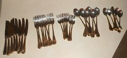 Cambridge Stainless China 40 Pieces Lot Of Utensils Forks Knifes Spoons Gold Rop