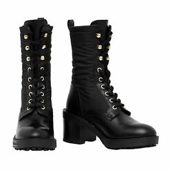 Love Moschino Womenand039s Black Leather Block Heel Combat Boots