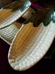 4 Vintage Ceramic Corn On The Cob Plates And Salt And Pepper Shakers Preowned