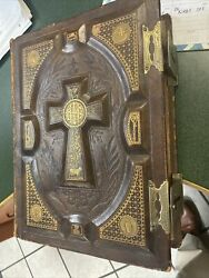 1884 Large Antique Family Holy Bible Fancy Clasps Beautiful Leather Covers