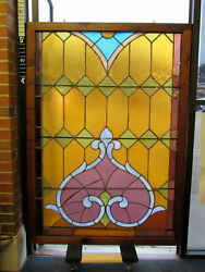 Antique Large 42x59 Victorian Stained Leaded Glass Transom Window