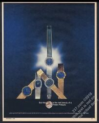 1970 Patek Philippe Blue Dial Gold Watch 5 Styles Color Photo Vintage Print Ad