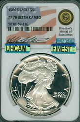1986-s Proof Silver Eagle Ngc Pf70 Uhcam Mac Finest Mac Spotless