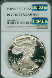 1986-s Proof Silver Eagle Ngc Pf70 Uhcam Mac Finest Mac Spotless 002