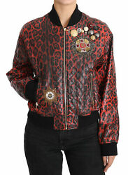 Dolce Andamp Gabbana Red Leopard Button Crystal Leather Jacket