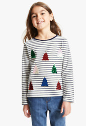 John Lewis And Partners Kidsand039 Sequin Christmas Tree Striped Long Sleeve T-shirt