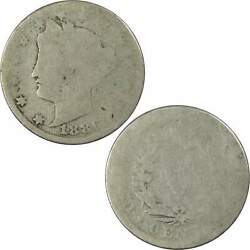 1886 Liberty Head V Nickel 5 Cent Piece Ag About Good 5c Us Coin Collectible
