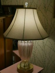 Large Vintage Pink Murano Glass Table Lamp With Silk Shade.andnbsp Purchased In Italy.