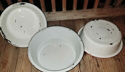 Lot Of 3 Enamel Ware Wash Tubs• 1 18 And 2 16. Black / Red / Blue