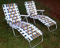 Vintage Pair Aluminum Web Chaise Trifold Lawn Lounge Chair•white/red/blue/yellow