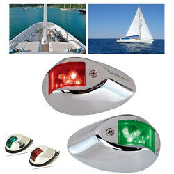 Led Navigation Lamp Waterproof Marine Boat Yacht Stainless 2 Red+2 Green Len