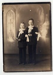 Two Young Boys Photograph 1920s Church First Communion Suits Kids Children