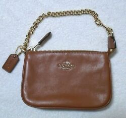 Coach small card holder coin purse Wristlet leather purse Clip on chain strap $45.00