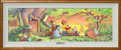 Disney Winnie The Pooh/sunset Inn Woods Certificate Of Work With Hook For