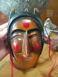 Vintage Wooden Mid Century Chinese Clown Mask