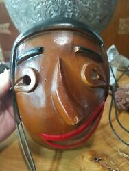 Vintage Carved Wooden Chinese Clown Mask. Mid Century