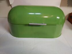 Vintage Metal Kitchen Bread Box Keeper Bright Green With Latching Hinged Lid
