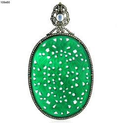 18k Gold Sterling Silver Carved Onyx Blue Moonstone Diamond Pendant Jewelry