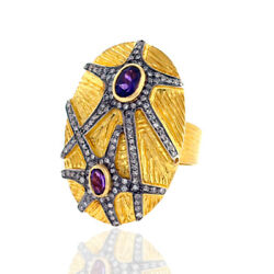 0.63 Ct Amethyst 925 Sterling Silver Diamond 18kt Solid Yellow Gold Ring Jewelry