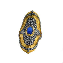 2.1ct Blue Sapphire Pave Diamond Ring 18kt Gold 925 Sterling Silver Gift Jewelry