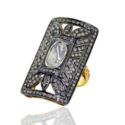 18 Kt Yellow Gold 2.13 Ct Diamond .925 Sterling Silver Vintage Look Ring Jewelry