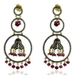 14k Gold Pave Diamond Ruby Beads Ethnic Earrings Sterling Silver Jewelry Gift