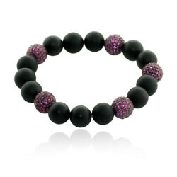 Black Onyx And Studded Ruby Beads Ball Bracelet Sterling Silver Handmade Jewelry