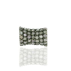 0.86ct Pave Diamond Drum Style Bead Spacer Finding Sterling Silver Jewelry