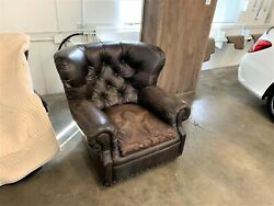 Restoration Hardware Churchill Classic Down Feather Nailhead Leather Chair