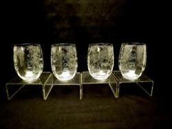 4 Cambridge Rose Point Flat Roly-poly Tumblers4 1/4optic13ozsparkling
