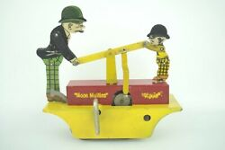 Vintage 1930s Marx Moon Mullins And Kayo Handcar Deluxe Tin Wind Up Toy Working