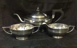 1909 And 1915 E S Barnsley And Co Solid Silver Art Deco Three Piece Tea Set. 749g