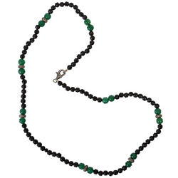 925 Sterling Silver Carved Onyx Beaded Necklace Diamond Jewelry For Womenand039s