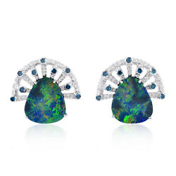 18k White Gold Pave Diamond And Doublet Opal Stud Earrings Fine Jewelry Gift